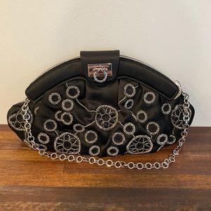 Ferragamo black satin & silver beaded evening bag